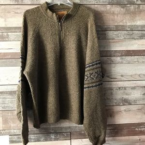 ALPS men's sweater brown print on arms Lg.